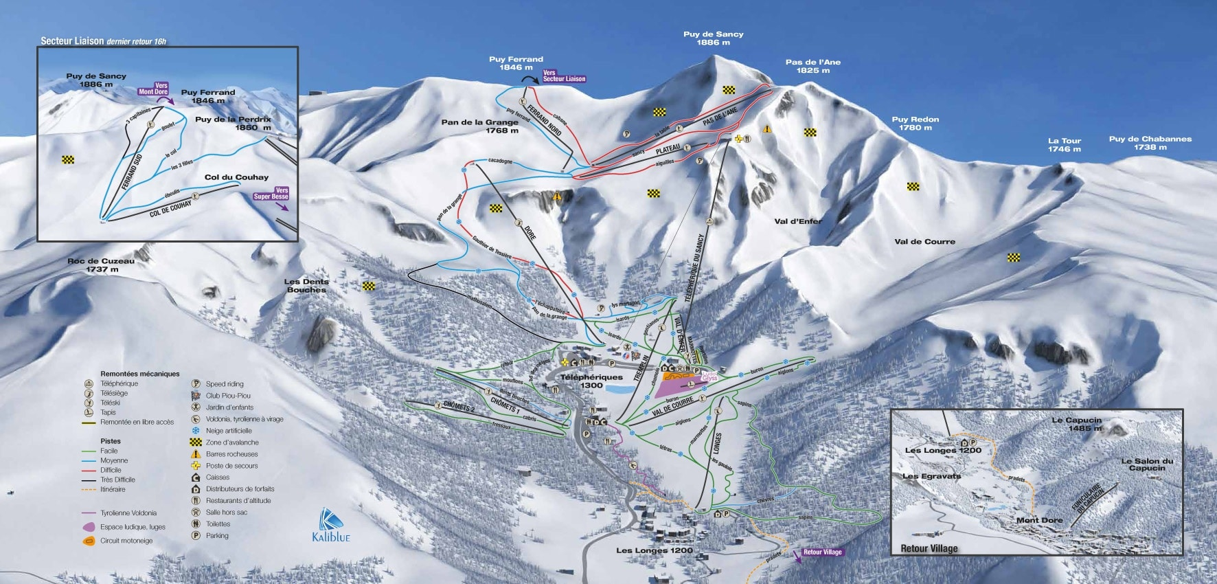Plan des pistes ski alpin mont-dore